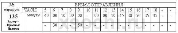 Расписание автобуса № 135 Адлер - Красная Поляна